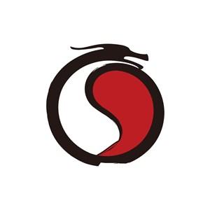 黑色红色太极龙矢量logo图标