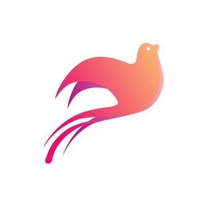 美容机构logo设计--粉色小鸟logo图标素材下载