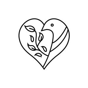 爱心线条小鸟矢量logo图标素材下载