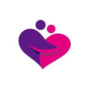 公益爱心logo设计-爱心人形笑脸logo图标素材下载