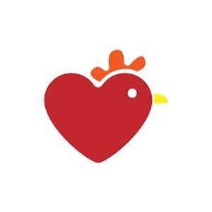 儿童服饰logo设计-爱心公鸡矢量图logo图标素材下载