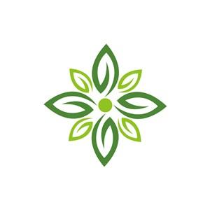 绿色花朵叶子logo图标素材下载
