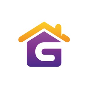 黄色紫色字母G房子矢量logo素材设计