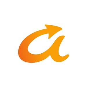黄色字母A箭头矢量logo图标设计素材