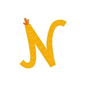 黄色小鸡字母N可爱动物矢量logo图标设计
