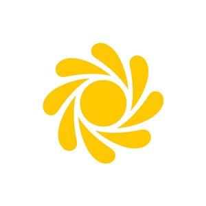 黄色旋转的太阳矢量logo图标设计
