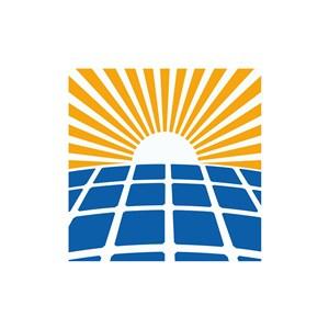 黄色太阳升起蓝色方格矢量logo图标设计素材