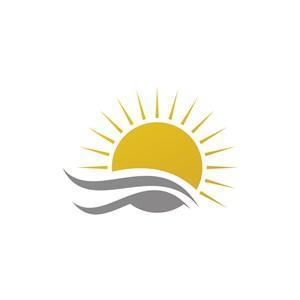 多云太阳灰色云朵矢量logo图标素材