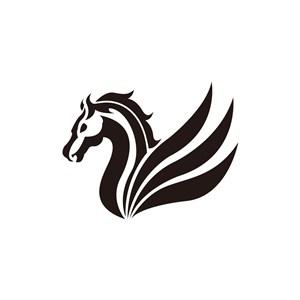 设计传媒logo设计--飞马翅膀logo图标素材下载