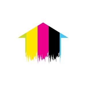 家居地产logo设计--房子箭头油漆logo图标素材下载