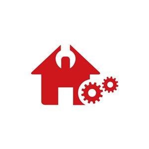 家居地产logo设计--房屋齿轮logo图标素材下载