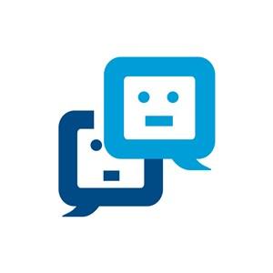 商务贸易logo设计--方形对话框人脸logo图标素材下载