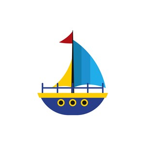 酒店旅游logo设计--蓝色帆船logo图标素材下载