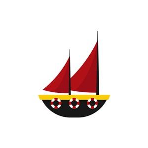 酒店旅游logo设计--红色帆船logo图标素材下载