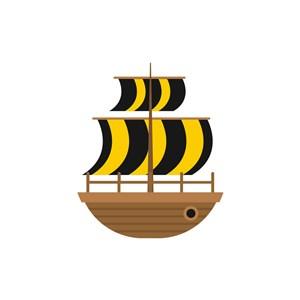 酒店旅游logo设计--条纹帆船logo图标素材下载