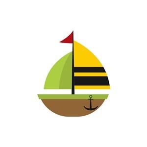 酒店旅游logo设计--绿色帆船logo图标素材下载