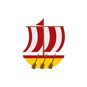 酒店旅游logo设计--红白条纹帆船logo图标素材下载