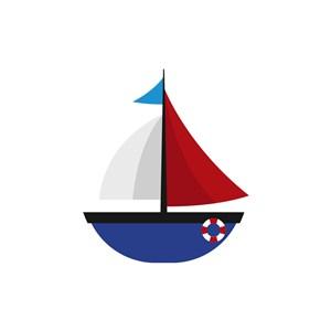 酒店旅游logo设计--蓝白帆船logo图标素材下载