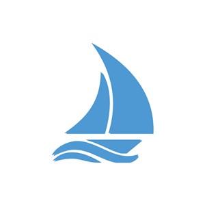 酒店旅游logo设计--淡蓝帆船logo图标素材下载