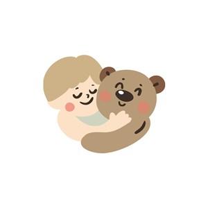 服饰时尚logo设计--儿童小熊玩伴logo图标素材下载