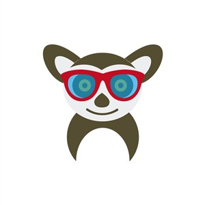 运动休闲logo设计--戴眼镜的狸猫logo图标素材下载
