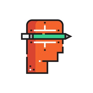 设计公司logo设计--人物铅笔logo图标素材下载