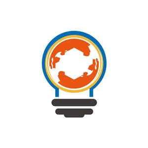 商务贸易logo设计--地球灯泡logo图标素材下载