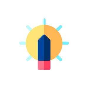 设计传媒logo设计--灯泡太阳logo图标素材下载