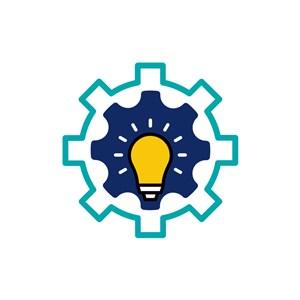 设计传媒logo设计--灯泡齿轮logo图标素材下载