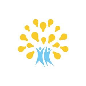 设计传媒logo设计--灯泡人元素logo图标素材下载