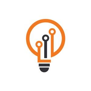 设计传媒logo设计--灯泡科技logo图标素材下载