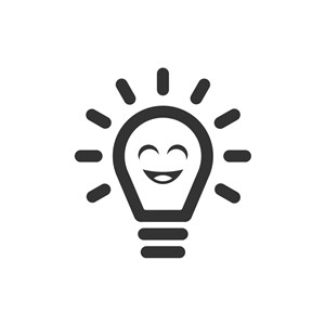 设计传媒logo设计--灯泡笑脸logo图标素材下载