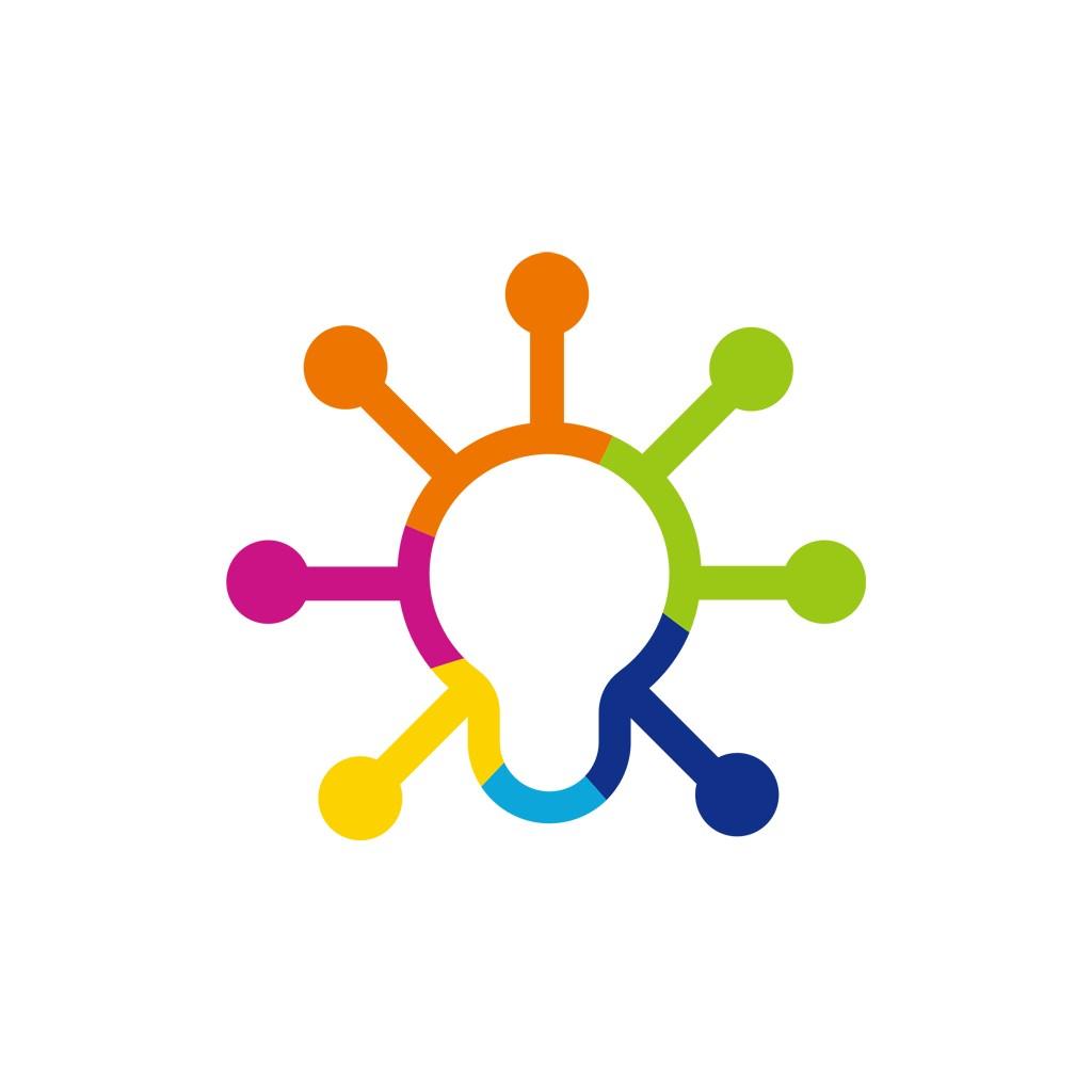 彩色灯泡创意想法矢量logo图标素材下载