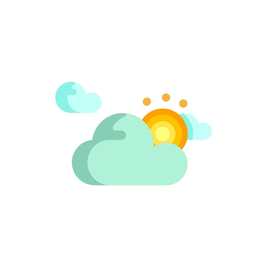 彩色多云转晴矢量logo图标素材下载
