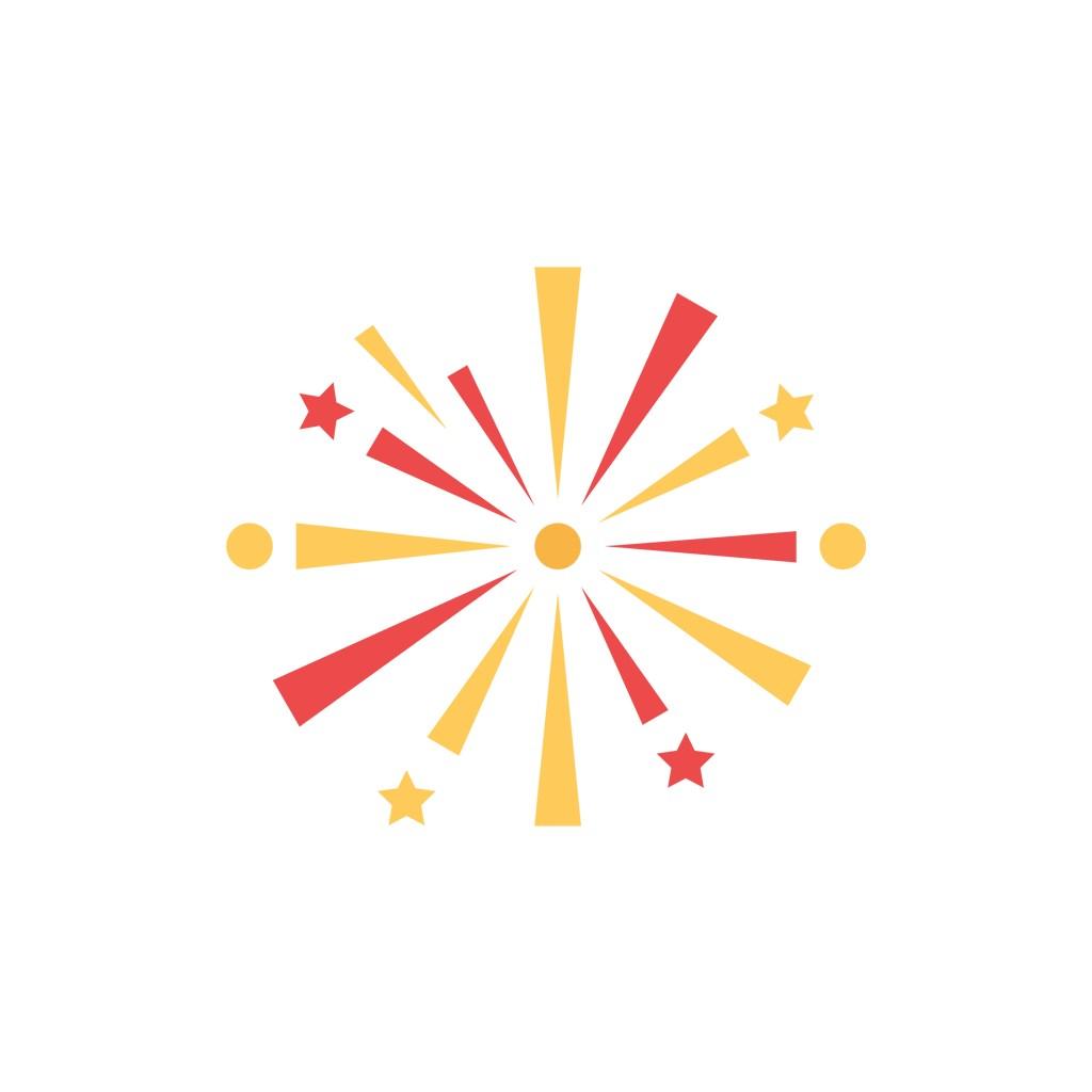 红黄色圆点星星烟花矢量图标素材