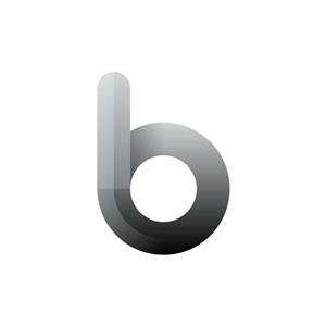 渐变灰色字母B矢量标志