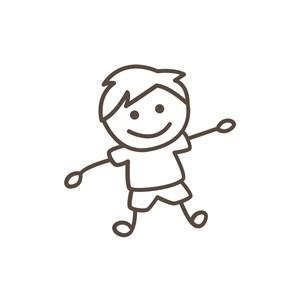 家笔画线条男孩矢量图标设计