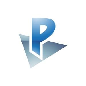 灰色蓝色字母P矢量logo图标