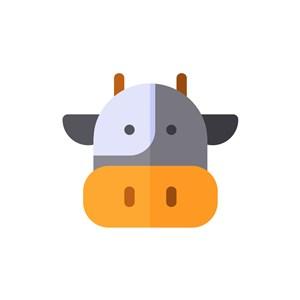 卡通奶牛头像矢量图标素材