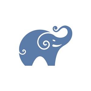 卡通大象元素LOGO矢量图标设计