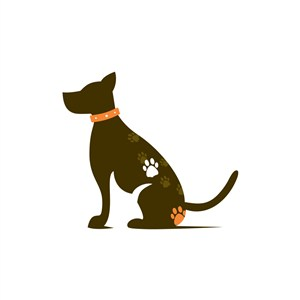 卡通獵犬矢量圖標素材設計