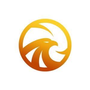 金色犀利鹰头矢量logo素材