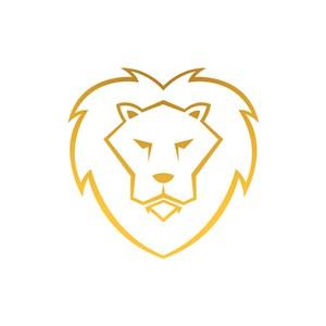 金色线条狮子矢量图logo素材