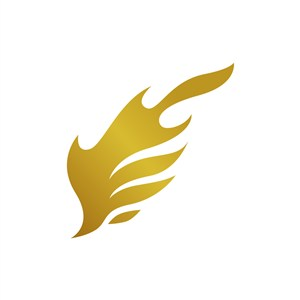 金色翅膀火焰矢量logo图标