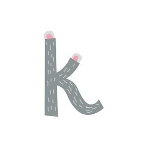 卡通考拉字母K可爱动物矢量logo图标