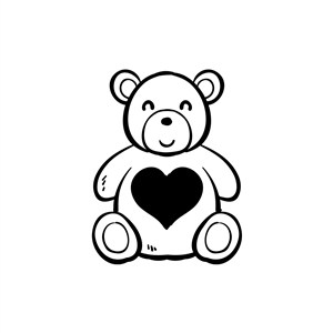 卡通爱心熊婚庆LOGO素材图标设计
