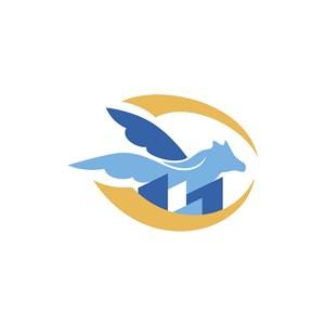 金色蓝色飞马矢量logo图标设计