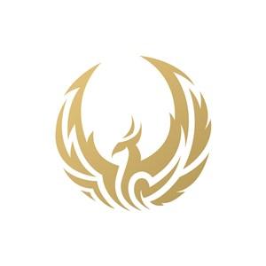 金色凤凰磐涅矢量logo图标设计