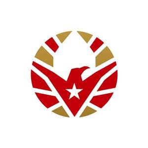 金色红色鹰矢量logo元素设计