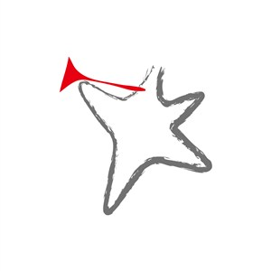 灰色吹喇叭的海星矢量logo设计素材
